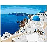 RYUANYUAN Santorini Hand Ölgemälde Barock Dekorative Leinen Malerei Spiegel Wandkunst Für Wohnzimmer 16x20 inch (40x50 cm) Rahmenlos