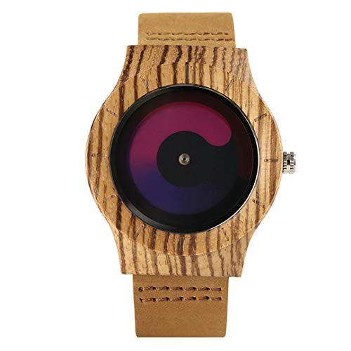 Blau/Lila Swirl Dial Holz Kreative Uhren MäNner Casual Lederband Ankunft Zebra Holz Armbanduhr Mann Uhr Geschenk Purple
