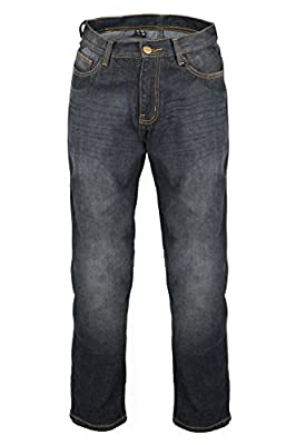 KB Men's Black Denim Protective Motorcycle Motorbike Biker Trousers Pants Jeans + Free Protectors