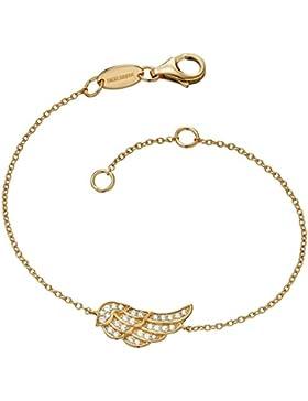 Engelsrufer Damen-Armband Silber vergoldet teilvergoldet Zirkonia weiß 15.5 cm - ERB-LILWING-ZI-G