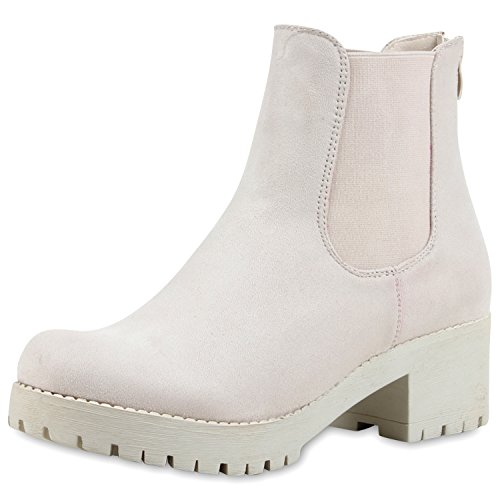 Damen Plateau Stiefelette Chelsea Boots Stiefel Trend Damen STIEFELETTEN, Nude Nuovo, 39 EU
