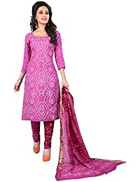 Taboody Empire Delightful Purple Satin Cotton Handi Crafts Bandhani Work With Straight Salwar Suit For Girls And...