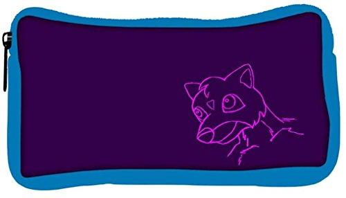 Snoogg Eco Friendly Canvas Cute Creature Purple Designer Student Pen Pencil Case Coin Purse Pouch Cosmetic Makeup Bag