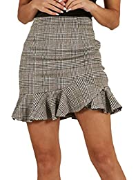 Falda para Mujer,Lenfesh Mujeres Falda Cuadros de Volantes Atractiva Mini Falda de Fiesta Noche Falda Plisada con Cintura Elástica