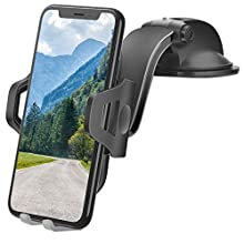 """Car Phone Holder, Universal Mobile Phone Mount with One Button Release & Strong Sticky Gel Pad for Auto Windshield/Dash for iPhone 12/11 Pro Max/Xr/Xs, Samsung Galaxy Note 10 Plus/10(4""""-6.5'')"""