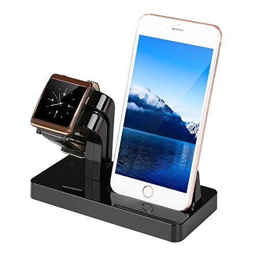 Moclever 2 in 1 Handy Halterung Ständer Halter Ladegerät Ladestation Docking Station Stand Dock Halterung für Apple Watch Series + iPhone X/8/8 Plus/7/7 Plus/6/5s/4s (Schwarz)