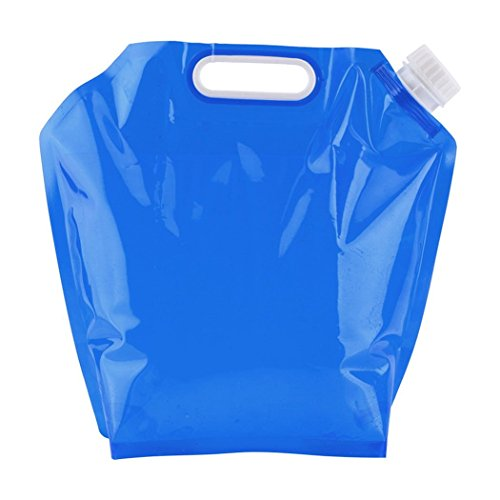 Teaio 5L Faltbarer Wasserkanister, Wasser Behälter Aufbewahrung, für Camping Reise Wandern Jagd Angeln Reisen Outdoor Auto, Blau Rot Gelb Transparent