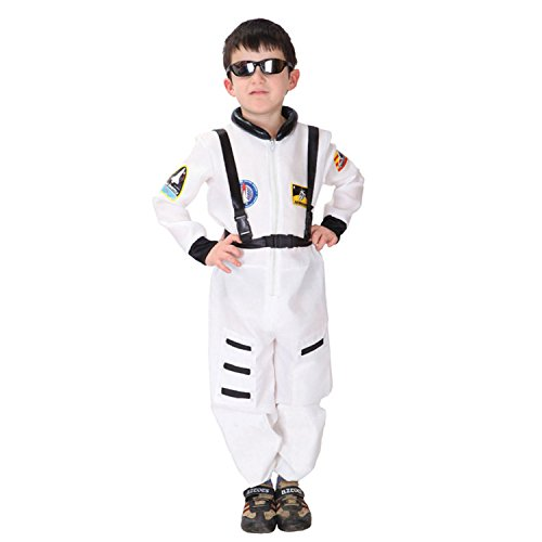 Discoball Child Kids Astronaut Costume Spaceman Fancy Dress Outfit Uniform Halloween Cosplay Costume Spacesuit(White,M 5-6 years) by discoball
