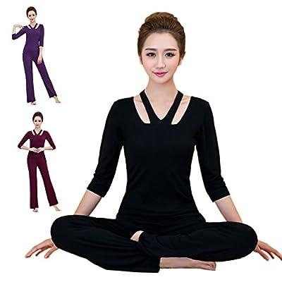Damen Fitness Sport Yoga Bekleidung 2tlg. Dreiviertel-Ärmeln Shirt +Hose