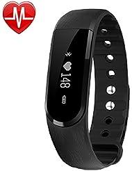 Fitness Tracker, AsiaLONG Fitness Armband mit Pulsmesser Bluetooth Armband Schrittzähler Uhr mit Herzfrequenz Monitor, Kalorienzähler, Schlafmonitor, Kamera-Fernbedienung, Vibrationswecker Anruf SMS Whatsapp Vibration für iOS und Android Handy