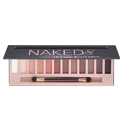 ZEZKT-Beauty ❤Lidschatten-Palette Profi-Augenpalette mit 12 Farben Nude Bronze Schimmer Smokey Eyeshadow Makeup Lidschattenpinsel Matt Naked Lidschatten-Palette Sombras (A)