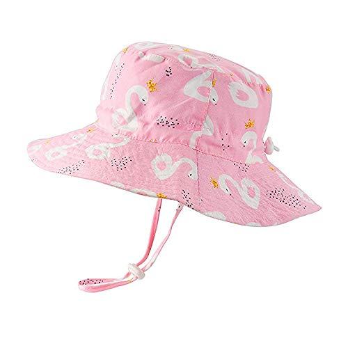 Sonnenhut Mädchen Baby Kinder Sommerhut mit Breiter Krempe, Gute Passform mit Verstellbarem Kopfumfang, UV Schutz 50, Rosa/52cm