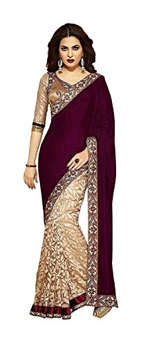 Fashion Vogue Women's Velvet Saree with Blouse Piece (Brown and Beige)