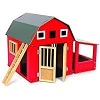 Alabama Barn wooden farm, practical red wooden stall with removable roof, approx. 32 x 24 x 25 cm