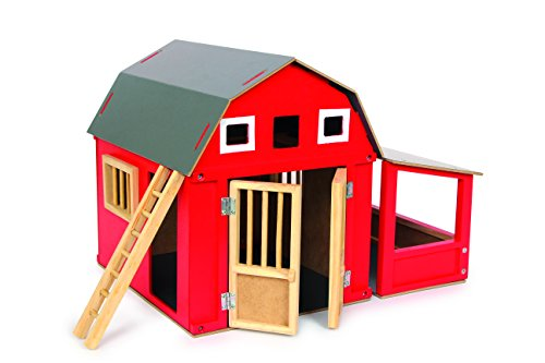 Scheune Alabama Holz-Bauernhof | praktischer roter Holzstall mit abnehmbaren Dach | bietet viel Stauraum inkl. Leiter, Größe: ca. 32x24x25cm