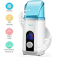 Baby Bottle Warmer Cooler Yogurt Maker 3 in 1 with LED Display for Home and Car Use (450ml) by YISSVIC (Blue)