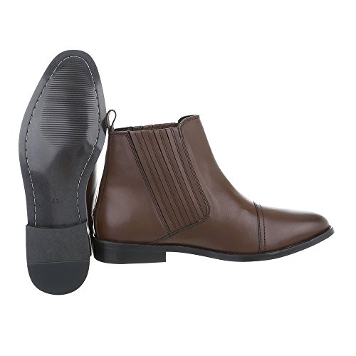 Stiefeletten Leder Herrenschuhe Chelsea Boots Blockabsatz Blockabsatz Ital-Design Boots Braun