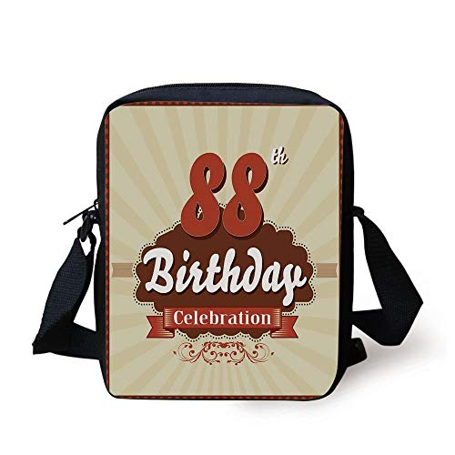 88th Birthday Decorations,Vintage Anniversary Cloud Classic Effects Illustration,Chestnut Brown Tan Print Kids Crossbody Messenger Bag Purse -