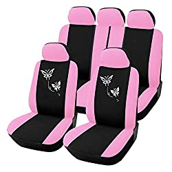 Universelle Autositzbezüge 100% atmungsaktiv Autoinnenausstattung Waschbarer Airbag Kompatibel für die meisten Autos, SUV, Van (Pink und Schwarz)
