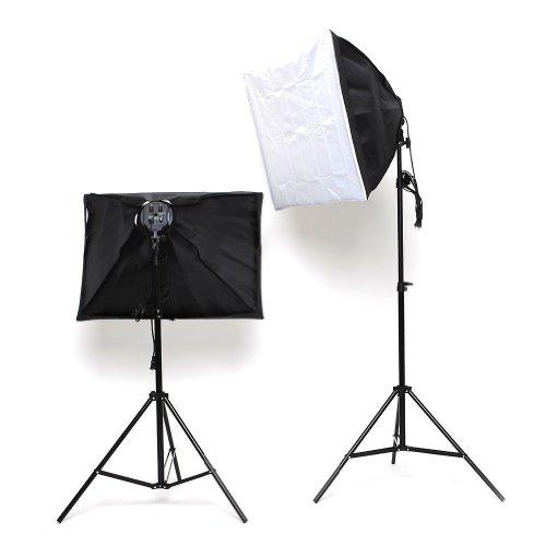 amzdeal® 50x70cm Softbox Fotostudio Studioleuchte Studioset mit 8x135W Fotolampe