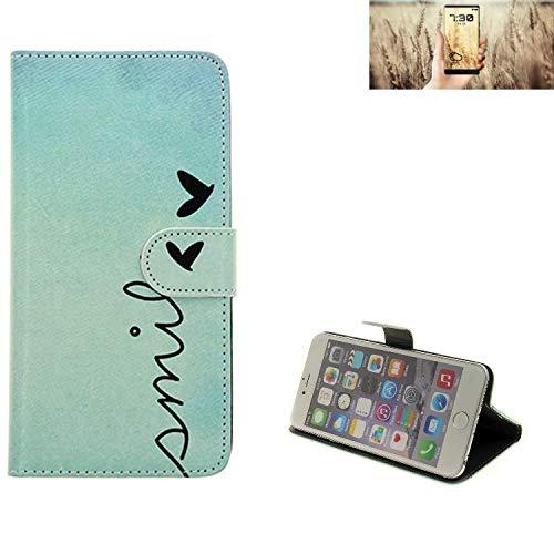 K-S-Trade® Für Allview X4 Soul Infinity N Wallet Case Schutz Hülle Flip Cover Tasche ''Smile'', Türkis