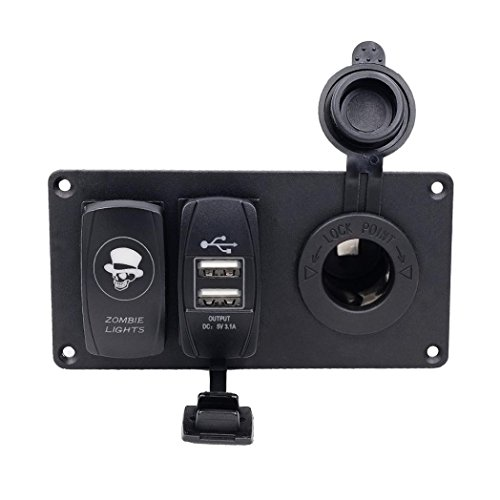 Auto-Boots-Schalter - Kingwo Voltmeter Auto Auto Boat Marine Aluminium Schalttafel USB Voltmeter Kombi-Panel mit 1 x Panel, 4 x Edelstahl Schraube