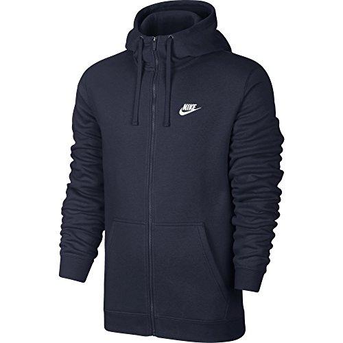 Nike M NSW HOODIE FZ FLC CLUB, Felpa Con Cappuccio Uomo, Blu Ossidiana/Blu Ossidiana/Bianco, M