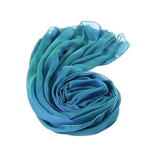 Prettystern - 200cm stola pura seta foulard taffetà sfumature bicolori seta donna scialle abito da sera - 45. blu petrolio