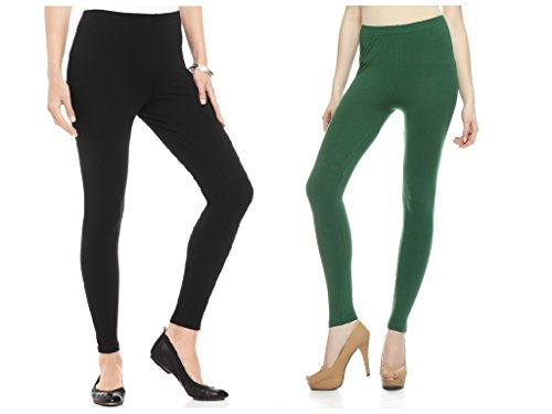 Kamaira Premium Ankle Length Leggings Combo Black & Pakistani Green
