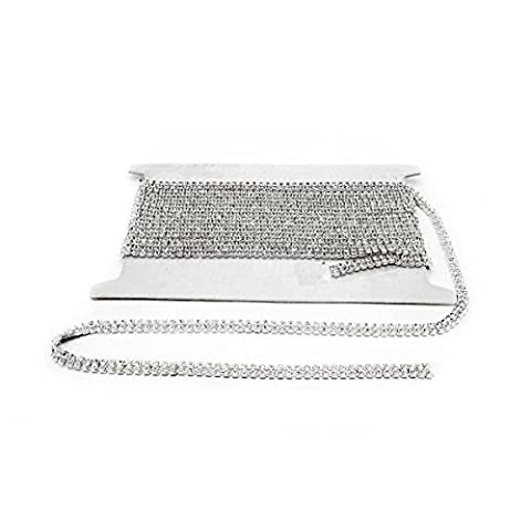 1M Silver Rhinestone Trim Chain with Clear Diamante Crystals Studs - Style SS6 - 2 Rows (4mm Wide) by Trimming Shop