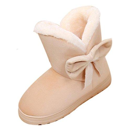 Schneestiefel Damen Schuhe Sonnena Herbst Winter Ankle Boots Frauen Stiefeletten Stiefel Bowknot Strass Velours Look Schnee Blockabsatz Boots Warm Gefütterte Halbschaft Stiefel (39-40, Sexy Beige) (Beige Frauen-boot)