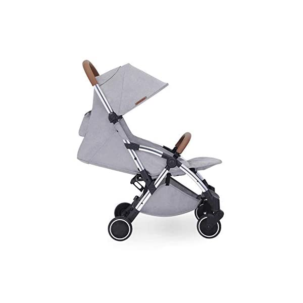 Ickle Bubba Globe Max Baby Stroller | Lightweight and Portable Stroller Pushchair | Folds Slim for Ultra Compact Storage | UPF 50+ Extendable Hood, Footmuff and Rain Cover | Grey/Silver Ickle Bubba ONE-HANDED 3 POSITION SEAT RECLINE: Baby stroller suitable from birth to 15kg-approx. 3 years old; features luxury soft quilted seat liner, footmuff, cupholder, and rain cover UPF 50+ RATED ADJUSTABLE HOOD: Includes a peekaboo window to keep an eye on the little one; extendable hood-UPF rated-to protect against the sun's harmful rays and inclement weather ULTRA COMPACT AND LIGHTWEIGHT: Easy to transport, aluminum frame is lightweight and portable-weighs only 6.4kg; folds compact for storage in small places-fits in aeroplane overhead; carry strap and leather shoulder pad included 7
