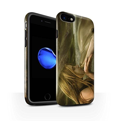 Officiel Elena Dudina Coque / Brillant Robuste Antichoc Etui pour Apple iPhone 8 / Laisse Moi Entrer Design / Agua de Vida Collection Sonrisas/Dauphin