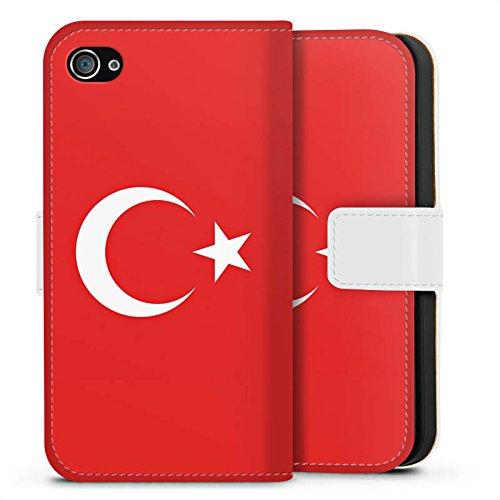 Apple iPhone X Silikon Hülle Case Schutzhülle Flag of Turkey Türkei Flagge Türkiye Sideflip Tasche weiß