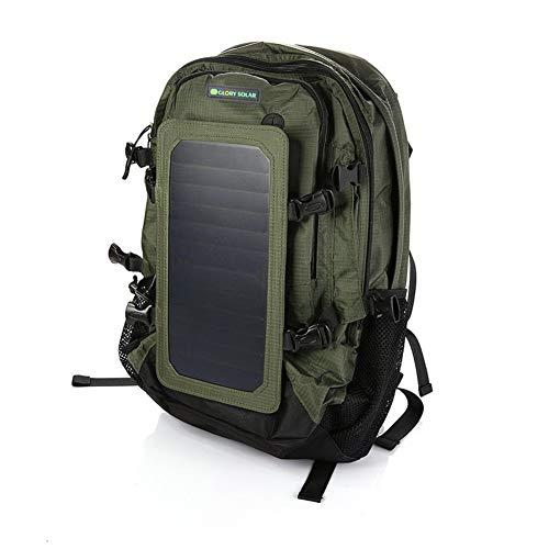 OLDWANG 7 Watt Solar Rucksack Solarpanel Solar-Panel 22% Wirkungsgrad Rucksack mit USB Ladeanschluss Stadt Ladegerät Smartphones 45L für iPhone 7 / 7s / 6s / 6, iPad Air 2 / TabletGreen