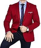Armina Exclusive Herren Sakko Leichter Stoff Blazer Einknopf Jackett Regular Fit Anzug klassisch, Größe 58, Bordeaux