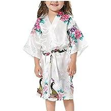 Minetom Niñas Pijama Satén Kimono Robe Bata Albornoces Pavo Flores Cómoda Bonita Larga Camisón Albornoz