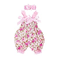 LANSKIRT-Baby Baby Girl Boy Romper for 0-12 Months Old, ✿Toddler Infant Floral Jumpsuit+Headband Set Outfit Lace Print Bowtie Jumpsuit Seersucker Lovely Summer Bodysuit Clothing Sets Pink