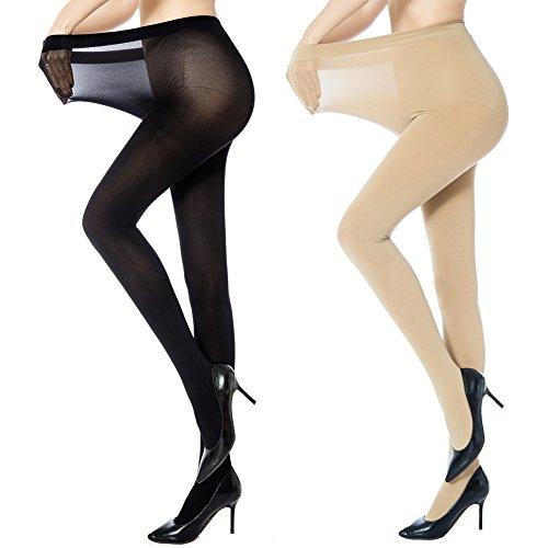MANZI Frauen 4 Paar Plus Size Control Top Ultra-weiche Strumpfhosen (Größe-strumpfhosen Plus Top Control)