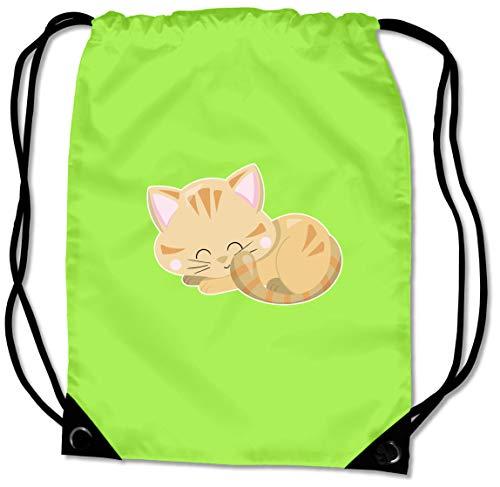Samunshi® Turnbeutel Schlafende Katze Sportbeutel für Schule Sport Sporttasche BG10 Gymsac 45x34cm Lime grün/Farbiger Aufdruck