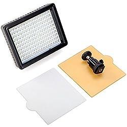 Andoer 160 LED Lampe de Vidéo Panneau de lumière 12W 1280LM Dimmable pour Canon Nikon Pentax DSLR Caméra Vidéo Caméscope