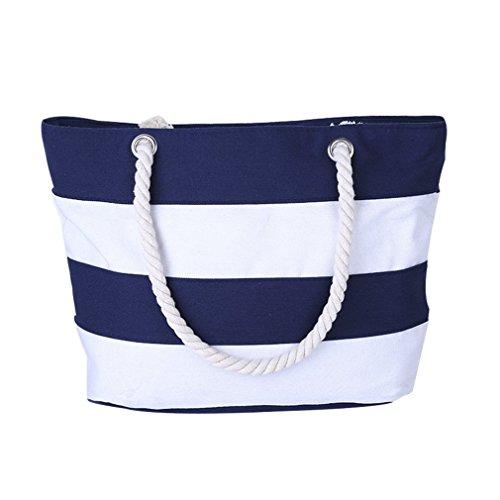 Borsetta tracolla donna - feelme borsa a spalla con righe spiaggia shopper stoffa tote tela (blu)