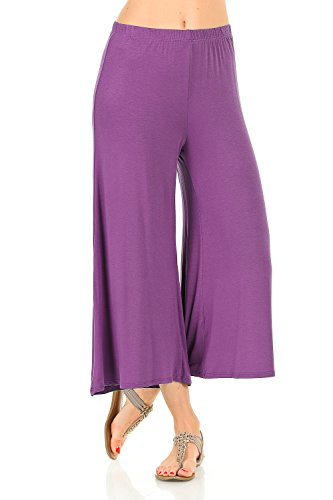 iconic luxe Damen Elastische Taille Jersey Culottes Pants - Pink - Klein -