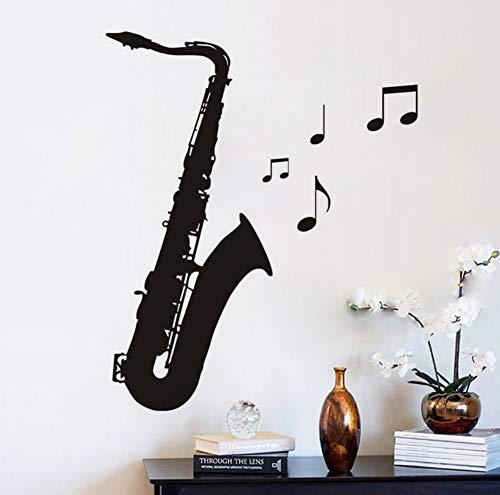 Vinyl DIY Abnehmbare Musiknote Schwarz Saxophon Wandbilder Wandaufkleber Steuern Dekor Wohnzimmer Moderne 43x97 cm