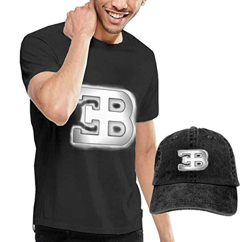 Herren Kurzarmshirt Customized Bugatti B Logo T Shirts with Hats for Mens 100% Organic CottonShort Sleeve Black -