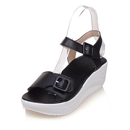 VogueZone009 Donna Puro Tacco Medio Punta Aperta Luccichio Fibbia Heeled-Sandals Nero