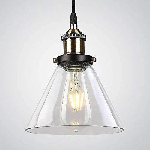 Louvra Industrielle VintagePendelleuchte Loft Retro Hängelampe LED Kronleuchter aus Eisen + Glas 1*E27 Leuchtmittel für Restaurant Keller Café Wohnung Küche Bar (keine Lichtquelle enthalten)