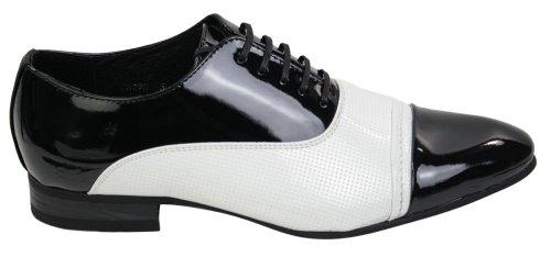 Herrenschuhe Italienisch Weiß Schwarz Leder Spitz Geschnürt Formell