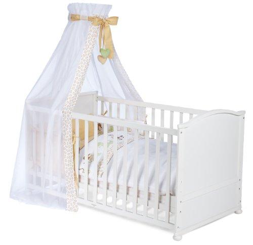 roba 0391W3V72 Komplettbett Set \'Safari\', Babybett weiß inkl. Himmel, Nest, Matratze, Kombi Kinderbett 70 x 140 cm umbaubar zum Junior Bett