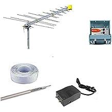 Kit Antena Digital Terrestre DVBT HD logaritmica OFFEL con amplificador Teleco (fuente de alimentación (30metros Cable TV y conectores f